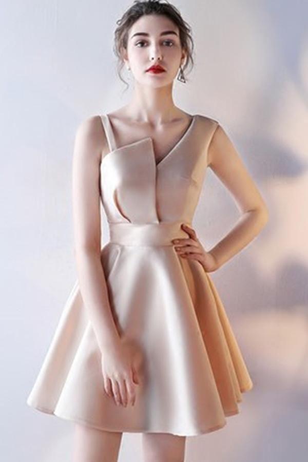 A-Line V-Neck Straps Homecoming Dress,Short Sleeveless Prom Dress,Mini Graduation Dress,N223