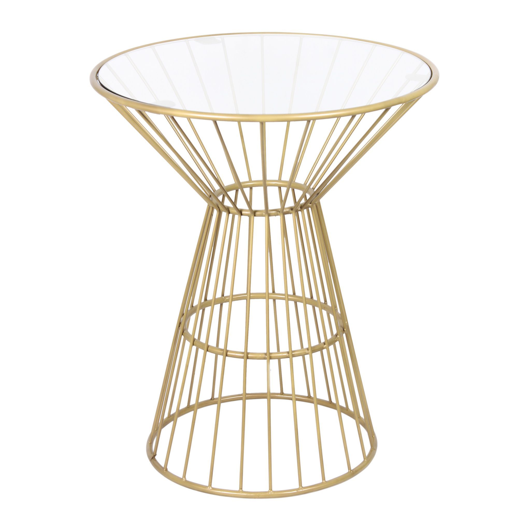 Gold Wire Framed Side Table with Glass Top - Overstock Shopping ...