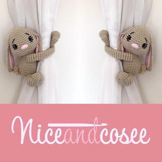 beautiful Rabbit Tie Backs Part - 7: Bunny rabbit curtain tie back crochet PATTERN tieback left