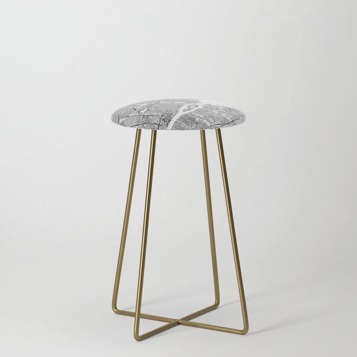 Detroit White Map Kitchen Counter Stool by Multiplicity Gold