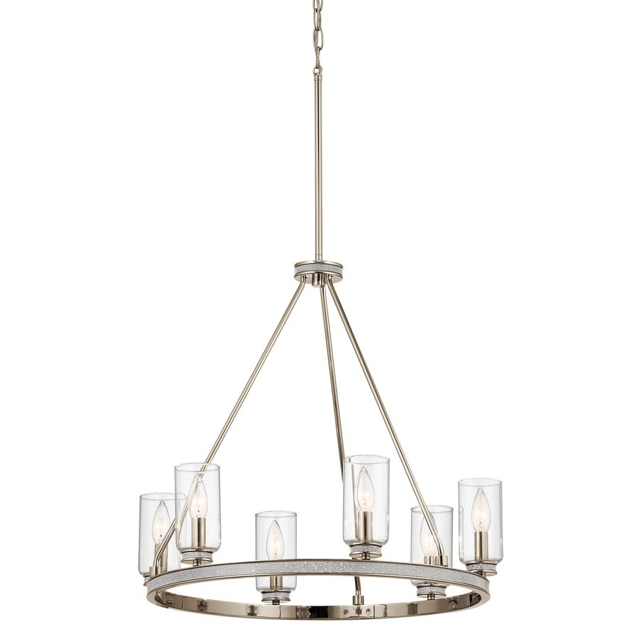 Kichler Angelica 24 In 6 Light Polished Nickel With Glass Accents Vintage Clear Shaded Chandelier