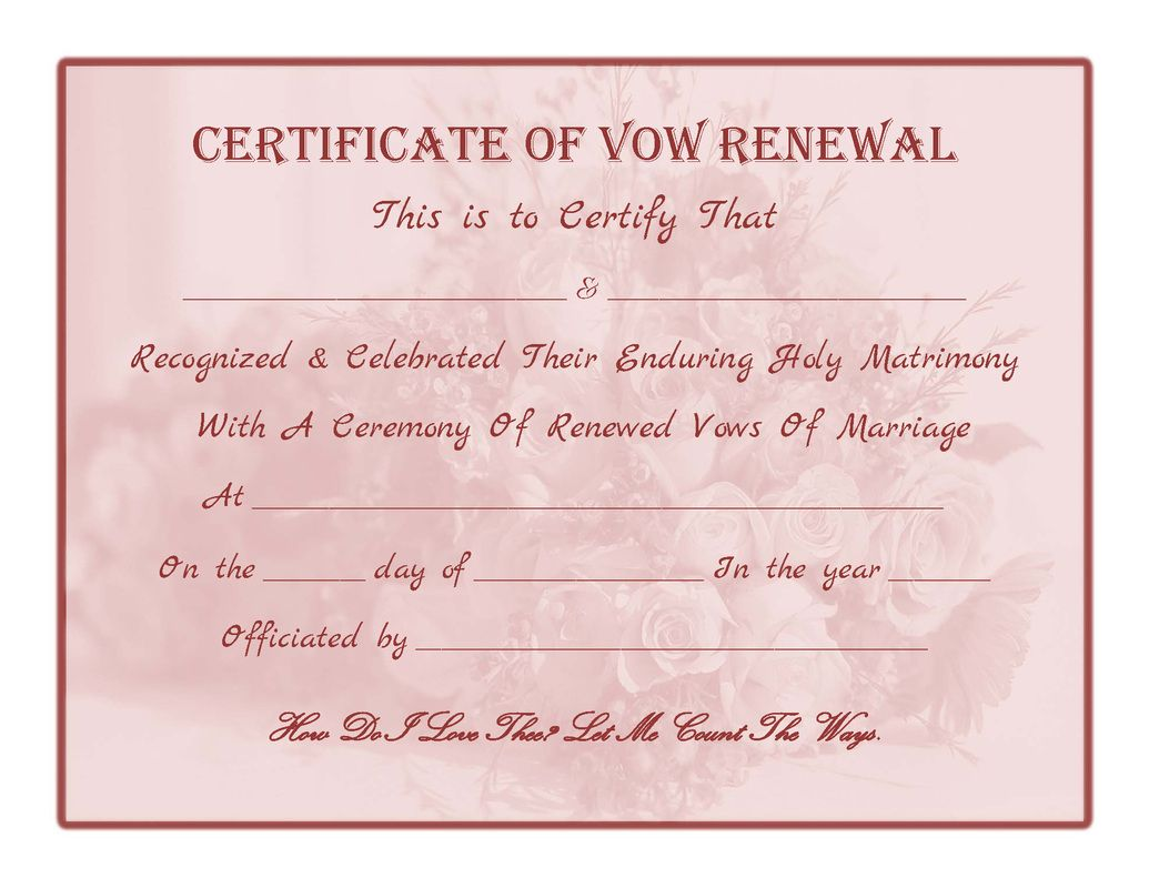 Free Printable  Vow Renewal Certificate  All Things Wedding