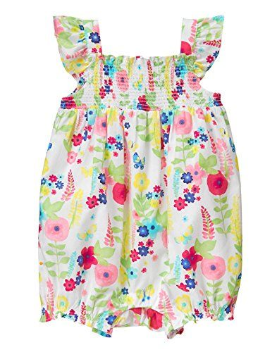 6191cafd142d Gymboree Baby Toddler Girls Floral Print Smocked Romper Multi 36 Months      You can find more details by visiting the image link.Note It is affiliate  link ...