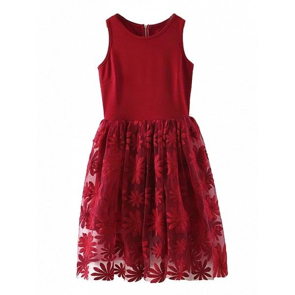 Choies Red Sunflower Embroidery Gauze Panel Midi Skater Dress ($35) ❤ liked on Polyvore featuring dresses, red, mid calf dresses, red skater dress, sunflower skater dress, midi skater dress and skater dress