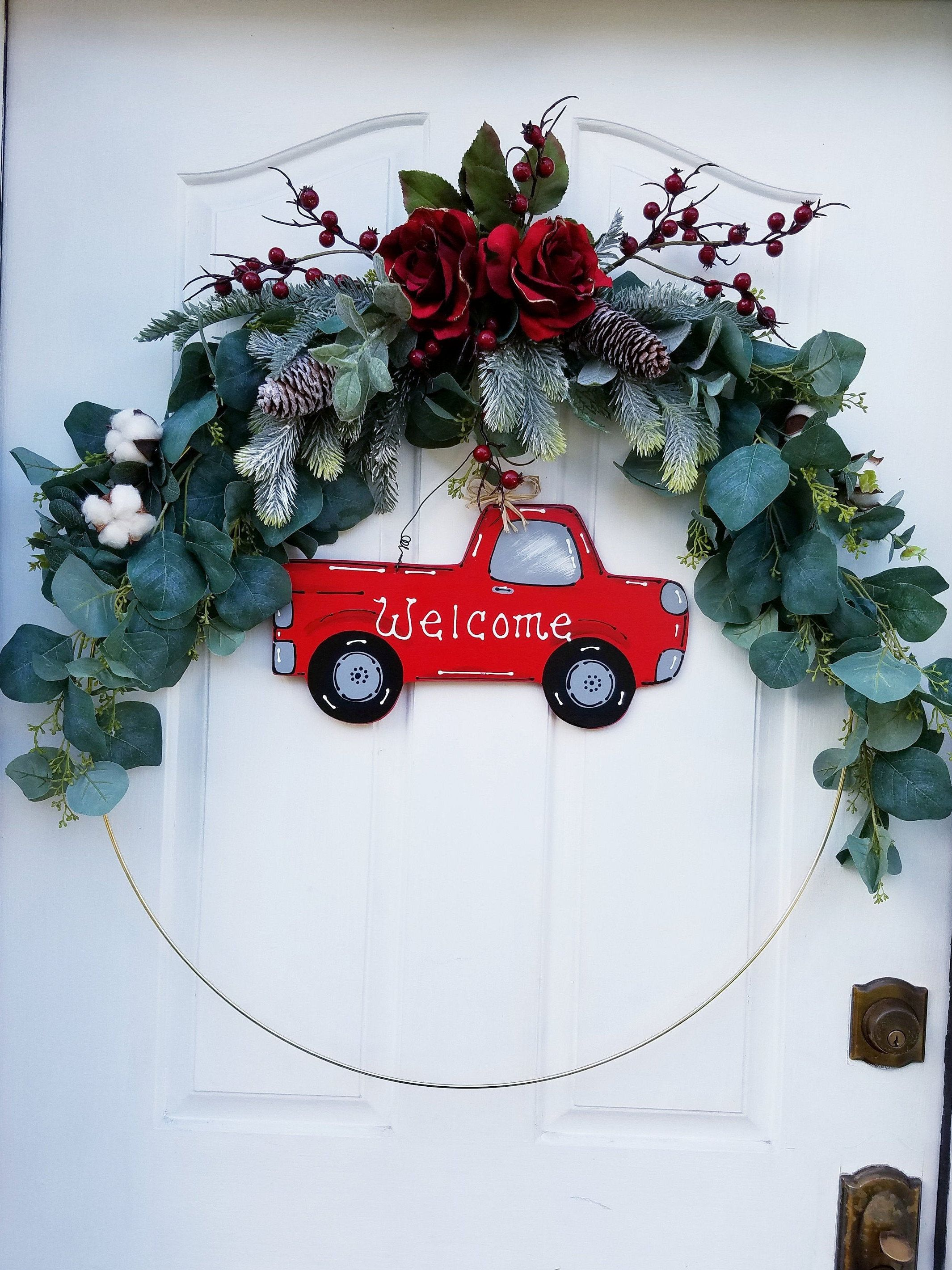 Hoop Wreath 30 Inch Red Truck Wreath For Front Door Welcome Etsy Indoor Wreath Summer Door Wreaths Winter Wreath