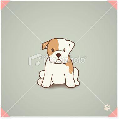 English Bulldog Puppy Sitting French Bulldog Cartoon English