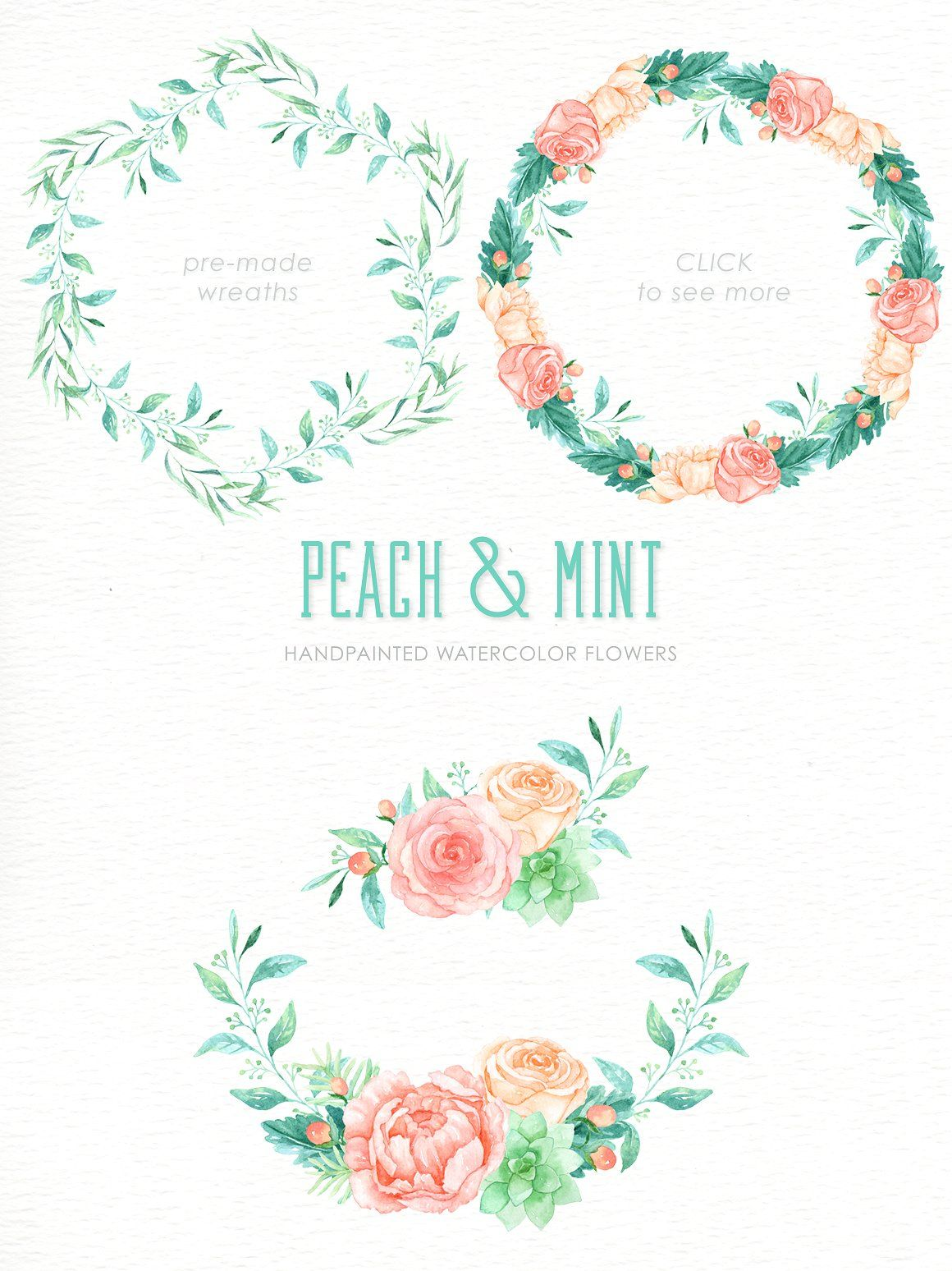 Peach And Mint Watercolor Clipart Invitaciones