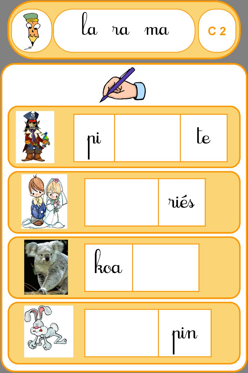 Ipot me t me jeu la syllabe combinaison de sons cp cole lecture pinterest - Couper les mots en syllabes ...