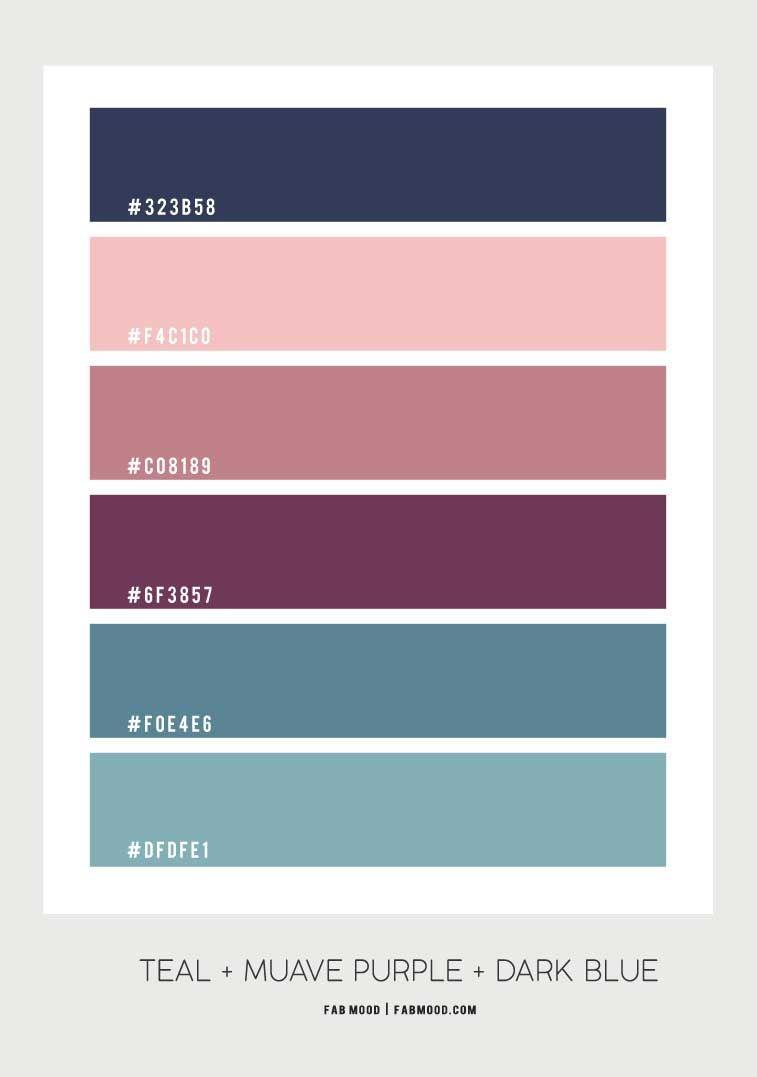 Peach Mauve Purple Navy Blue and Purple Colour Palette for Bedroom