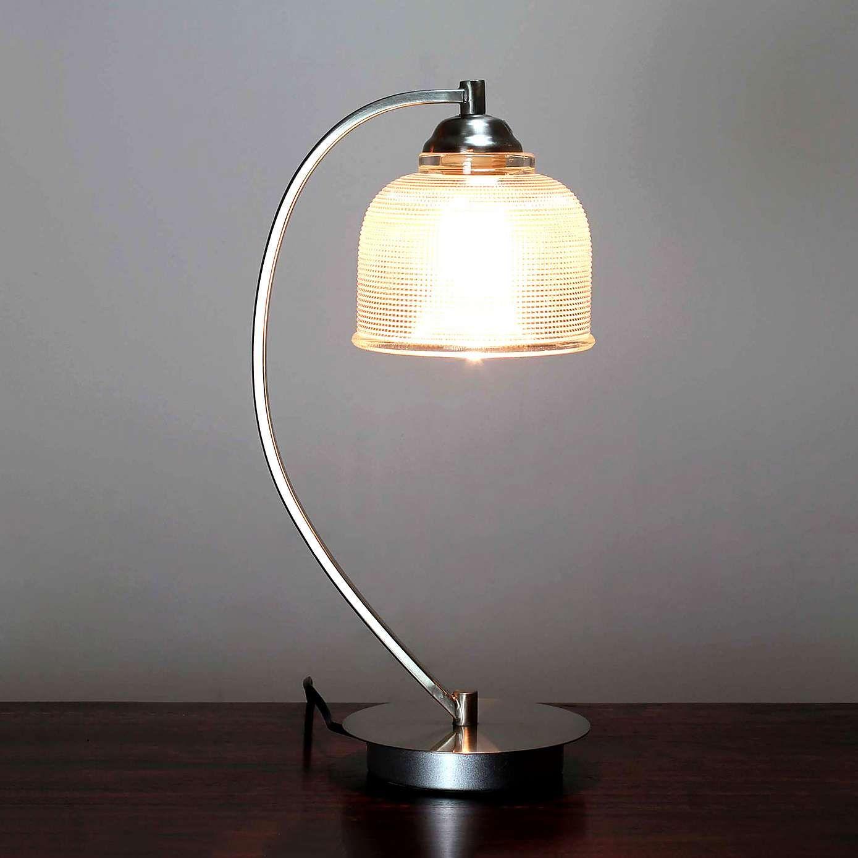 Hotel Cross Hatch Glass Table Lamp Bedside Lamplight Tabledesk