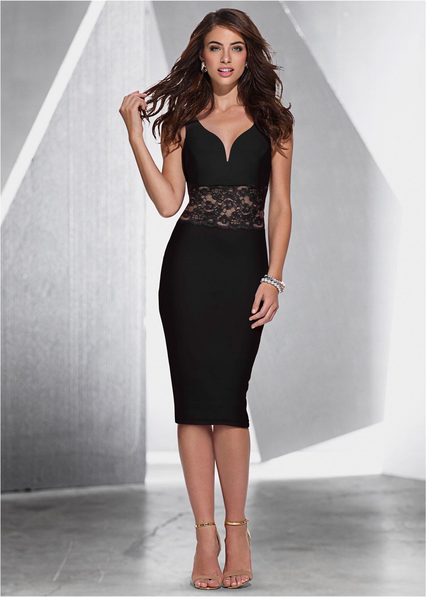 b8eb2a084 Vestido com renda preto/marrom-claro encomendar agora na loja on-line  bonprix