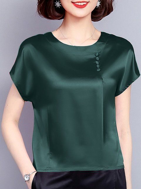 Folds Short Sleeve Casual Crew Neck Buttoned Satin Plus Size Blouse