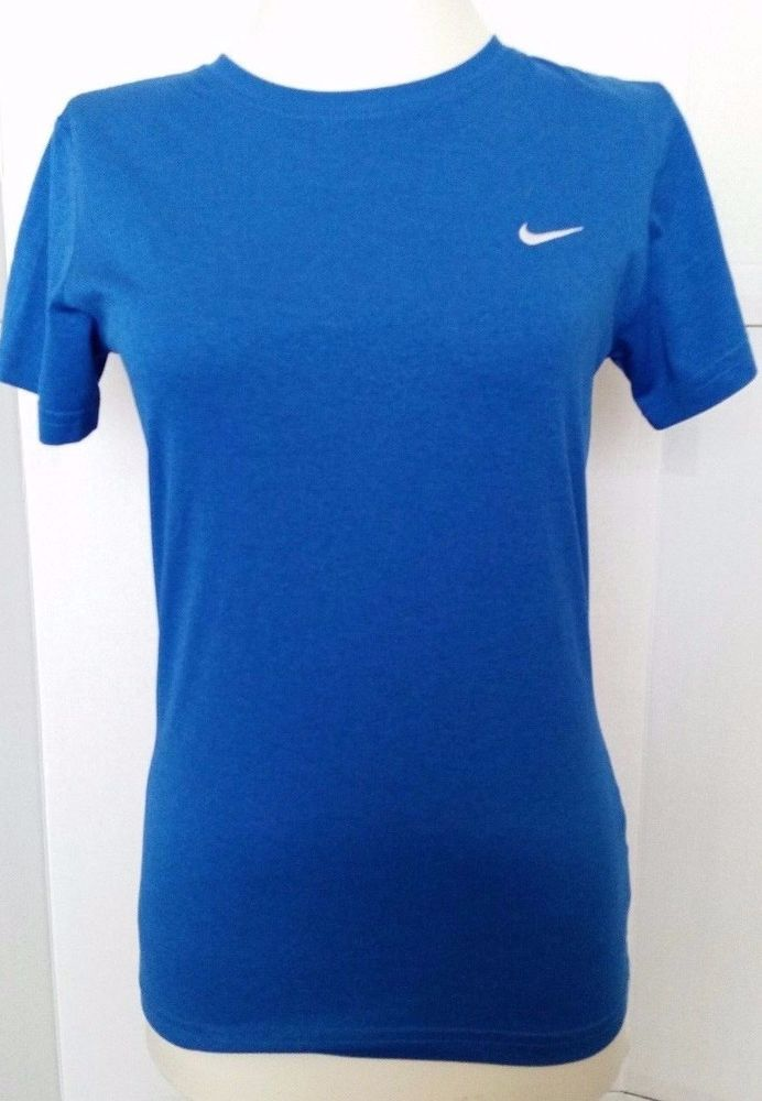 Womens Nike Dri fit Top Shirt Short sleeve Blue Athletic XS ...