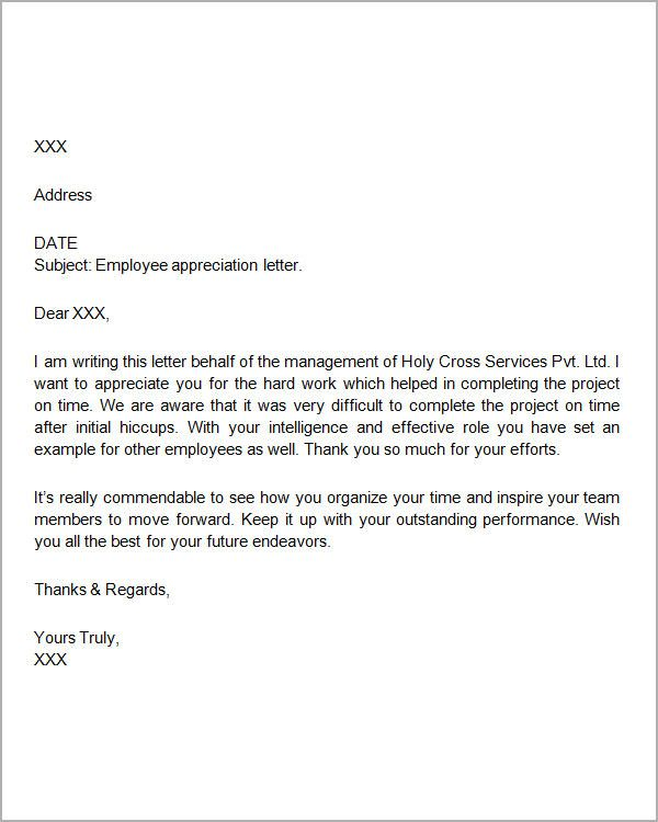 Sample Employee Thank You Letters For The Workplace Letter