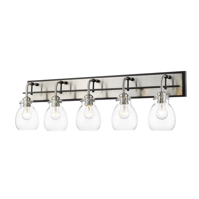 Photo of Z-Lite 466-5V Kraken 5 Light 38″ Wide Bathroom Vanity Light Matte Black / Brushed Nickel Indoor Lighting Bathroom Fixtures Vanity Light