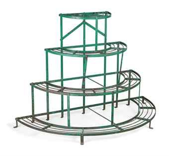 AN ENGLISH WROUGHT IRON PLANT STAND