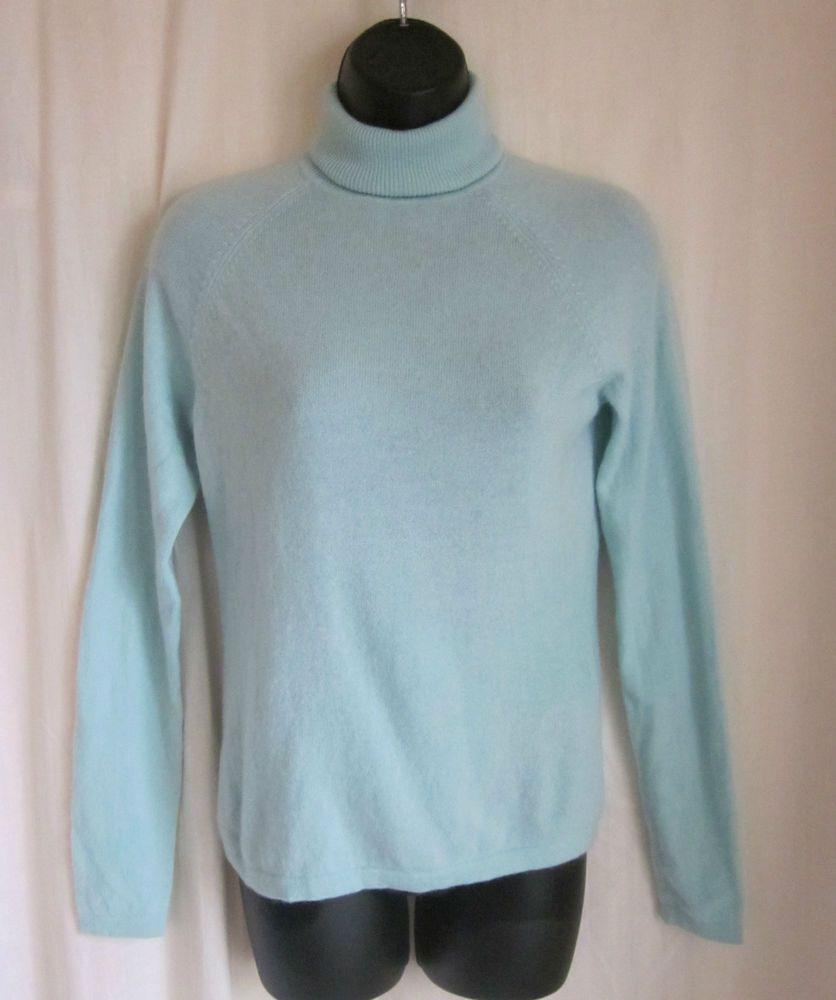 MARSHALL FIELDS Women's Mint Green 100% CASHMERE Turtleneck Sweater S Small #MarshallFields #TurtleneckMock