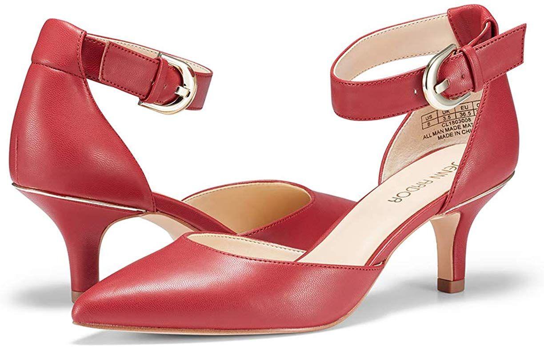 Amazon Com Jenn Ardor Women S Kitten Heel Pumps Ladies Closed Pointed Toe D Orsay Ankle Strap Dress Stiletto 6 9 Kitten Heel Pumps Kitten Heels Pumps Heels