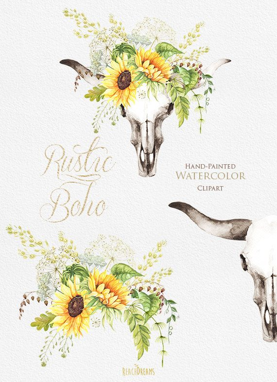 Watercolor boho bull skull with sunflower bouquet by