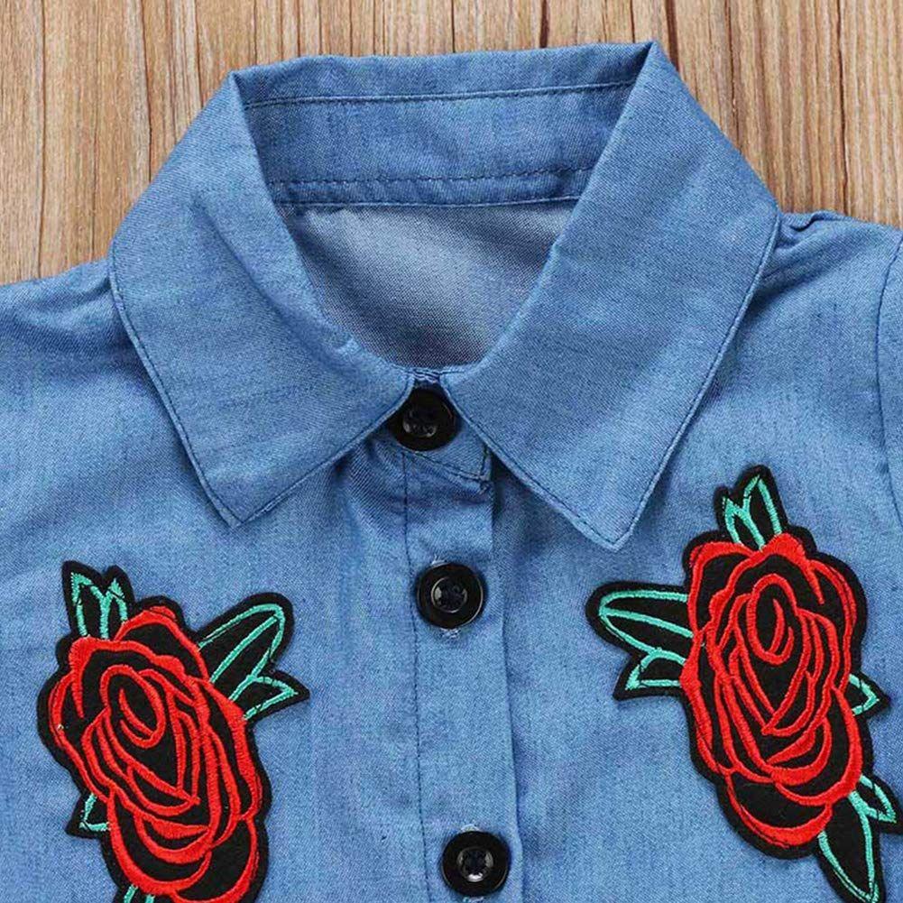Verypoppa Kids Girls 2 Pieces Floral Denim Blouse Shirt Top Mini Skirt Set Outfit