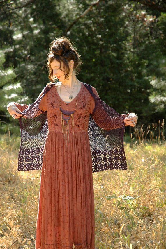 Crochet Maxi Vest... Black Open Weave... Boho by AstralBoutique, $32.00