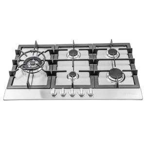 Ancona 30 In Gas Cooktop Stainless Steel With 5 Burners Including Cast Iron Griddle An 21009 The Home Depot