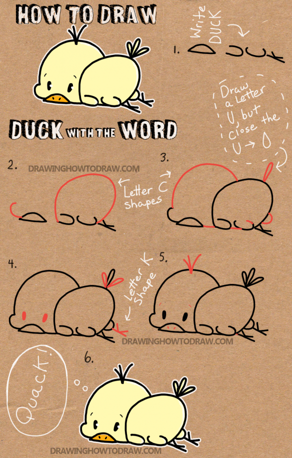 how to draw baby cartoon duck with the word duck easy
