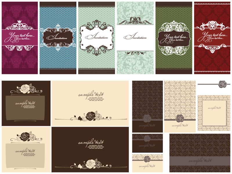 3 sets with 15 vector decorative ornate wedding invitation card - free invitation download