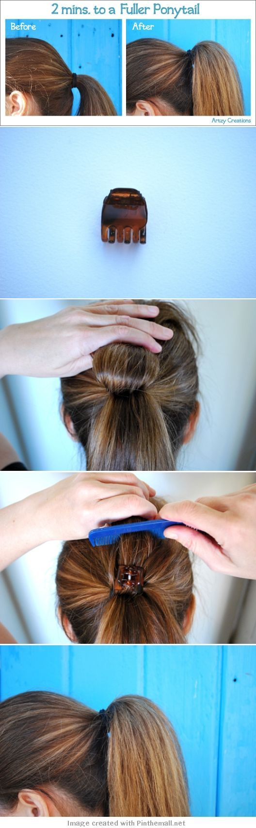 Create a fuller ponytail by using using miniature hair clips and teasing, for people with thin hair. #fullerponytail Create a fuller ponytail by using using miniature hair clips and teasing, for people with thin hair. #fullerponytail