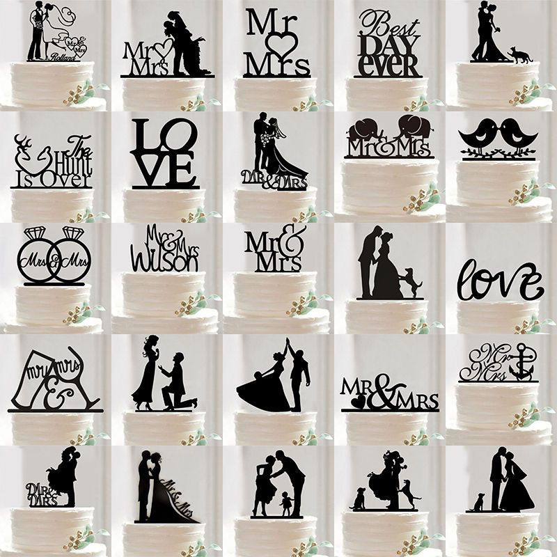 mr mrs wedding party silhouette cake topper bride and groom black acrylic unbranded stencil. Black Bedroom Furniture Sets. Home Design Ideas