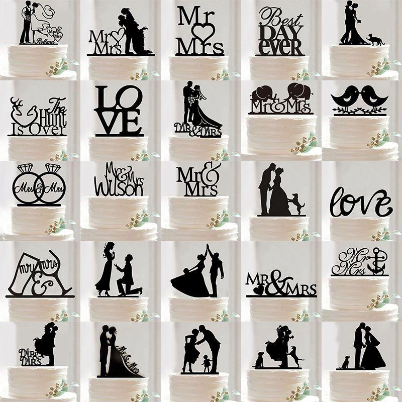 Mr mrs wedding party silhouette cake topper bride and groom mr mrs wedding party silhouette cake topper bride and groom black acrylic unbranded junglespirit Gallery