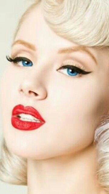Red Lips Black Eyeliner Stunning Against Her Blonde Hair And
