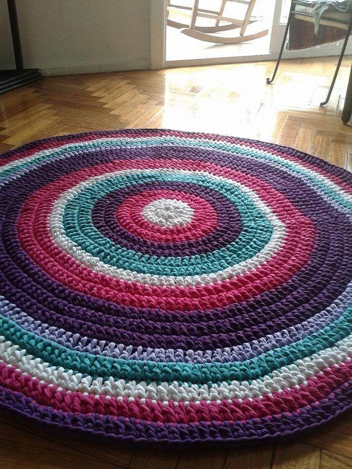 Alfombra artesanal tejida crochet con totora 1 metro - Como lavar alfombras ...