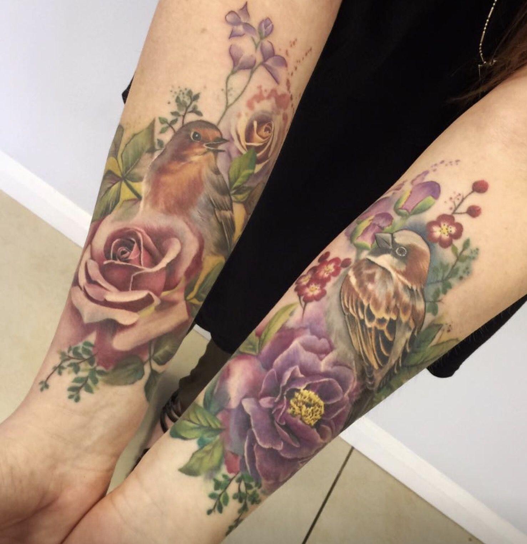 Vintage floral bird wrist tattoo Inked skin