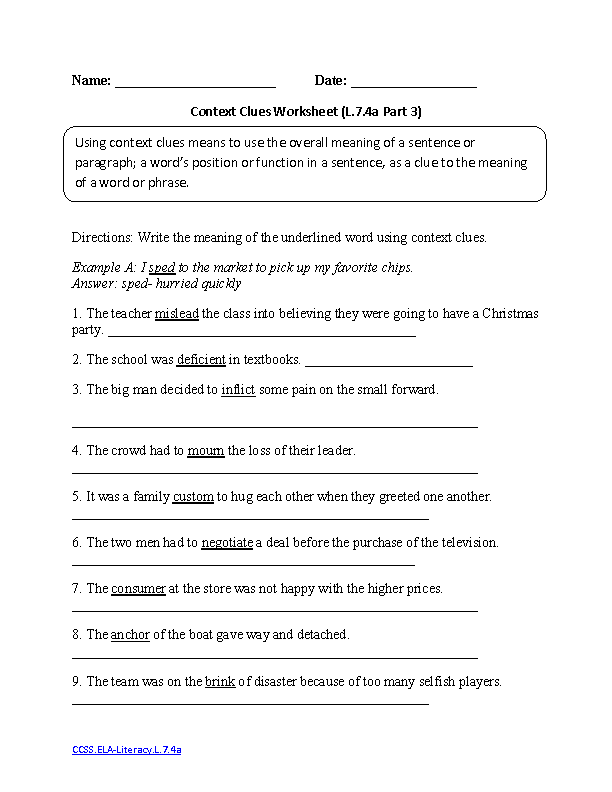 Context Clues Worksheet 3 ELA-Literacy.L.7.4a Language Worksheet ...