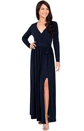 2ec7695e44ed2 Coupon Promo for KOH KOH Plus Size Women Long Sleeve Sleeves V-Neck Slit  Split Cocktail Evening Elegant Wrap Wi…
