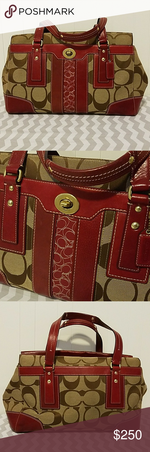 Coach Hamptons Signature Stripe large carryall AUTHENTIC Coach carryall. Khaki/brown canvas with rare (limited) berry leather. Dark brown interior. Minimal signs of wear, just a few very minor, barely there, scuffs on leather portions. This is in GREAT CONDITION! Dust bag included. Reasonable offers accepted! Coach Bags Satchels