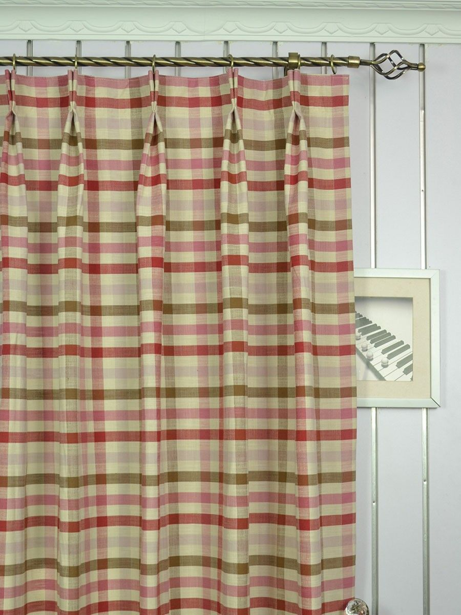 Extra Wide Hudson Middle Check Double Pinch Pleat Curtains 100