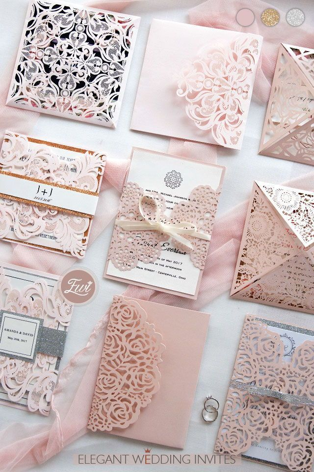 luxury rose gold laser cut wedding invites with glittery bottom card and belly band EWTS038 as low as $2.80