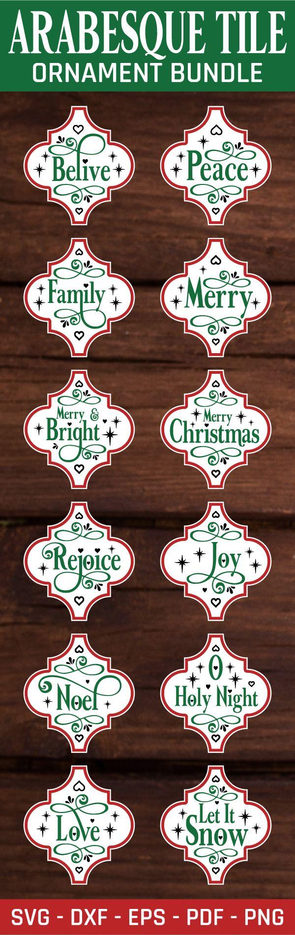 Arabesque Tile Ornament Svg Bundle Arabesque Tile Christmas Svg Vinyl Ornaments