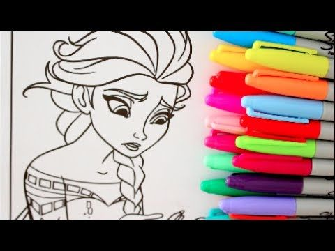 ELSA FROZEN COLORING WITH MARKERS CRAYOLAS SHARPIES FROZEN FUN ANNA ...