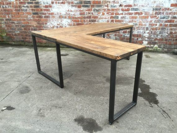 L Shaped Desk Industrial Style With Reclaimed By 101furniture Rustic Home Offices Industrial Office Desk L Shaped Corner Desk