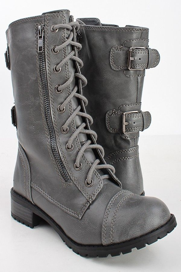 b4bdfe0c3524 GREY CRINKLE FAUX LEATHER LACED UP COMBAT BOOTS