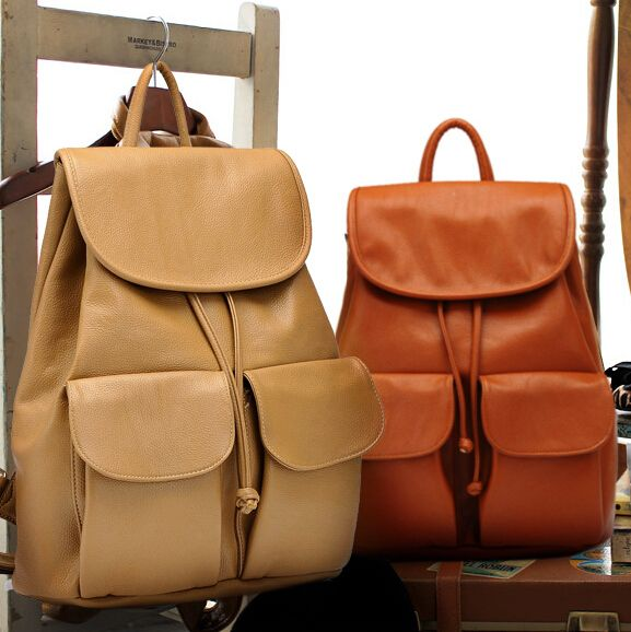 US $9.00 -- stacy bag hot sale women leather backpack khaki brown ...
