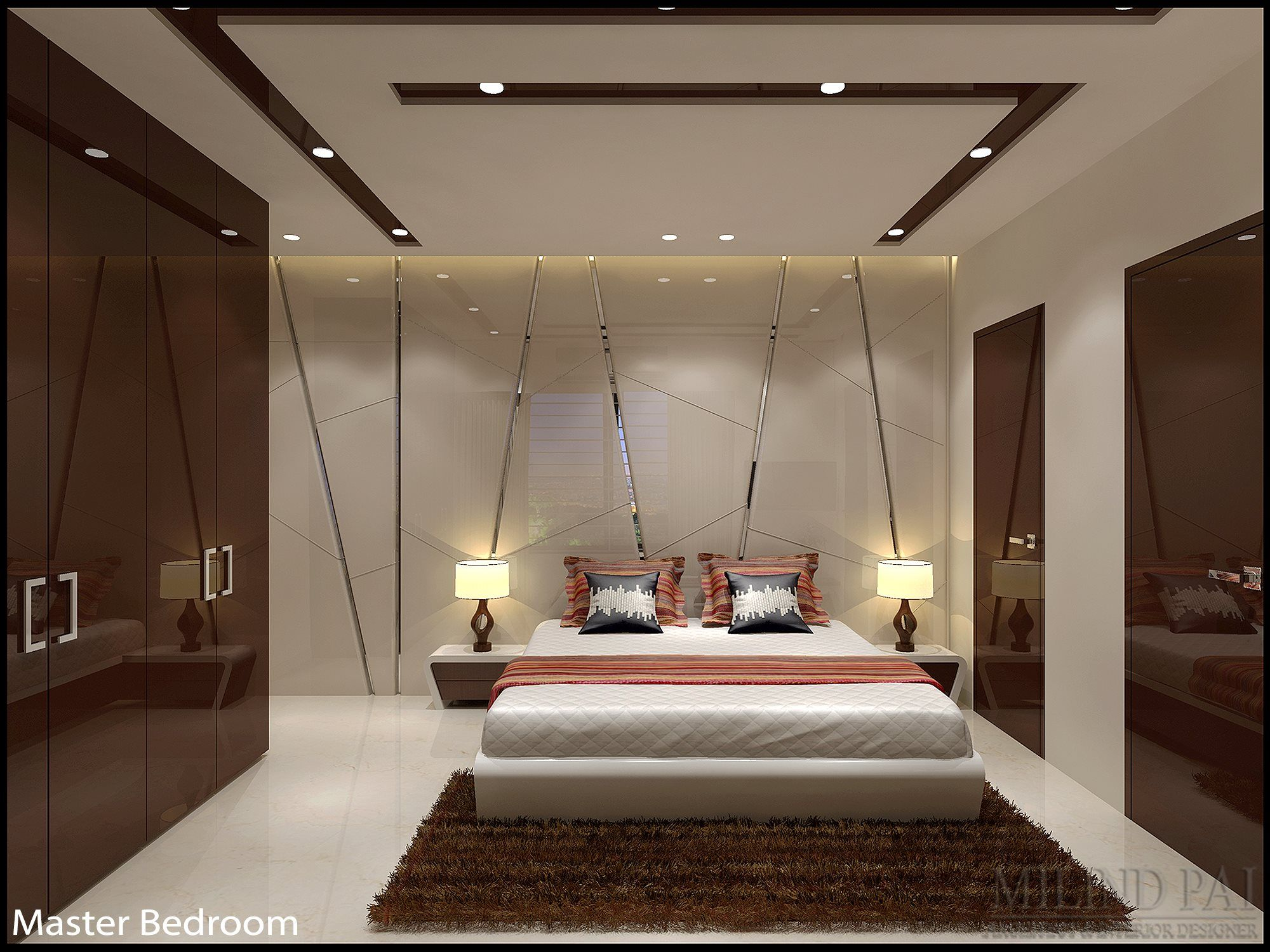 This Bedroom Is Designed Using Dark Colours Which Creates An Incredibly Relaxing Plus S Ceiling Design Living Room Modern Bedroom Design Ceiling Design Modern