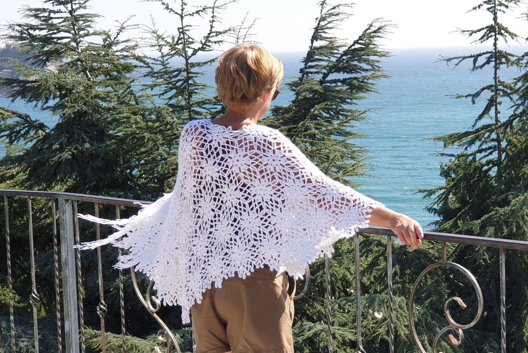 Photo of Poncho Hand knitted woman viscose/kidmohair Poncho cozy white crochet openwork style knit scarf knit shrug-ready to ship