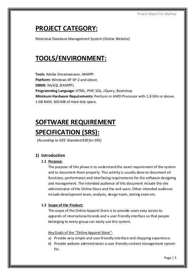 Cse it php mysql project on online apparel store - pdf report with - project report