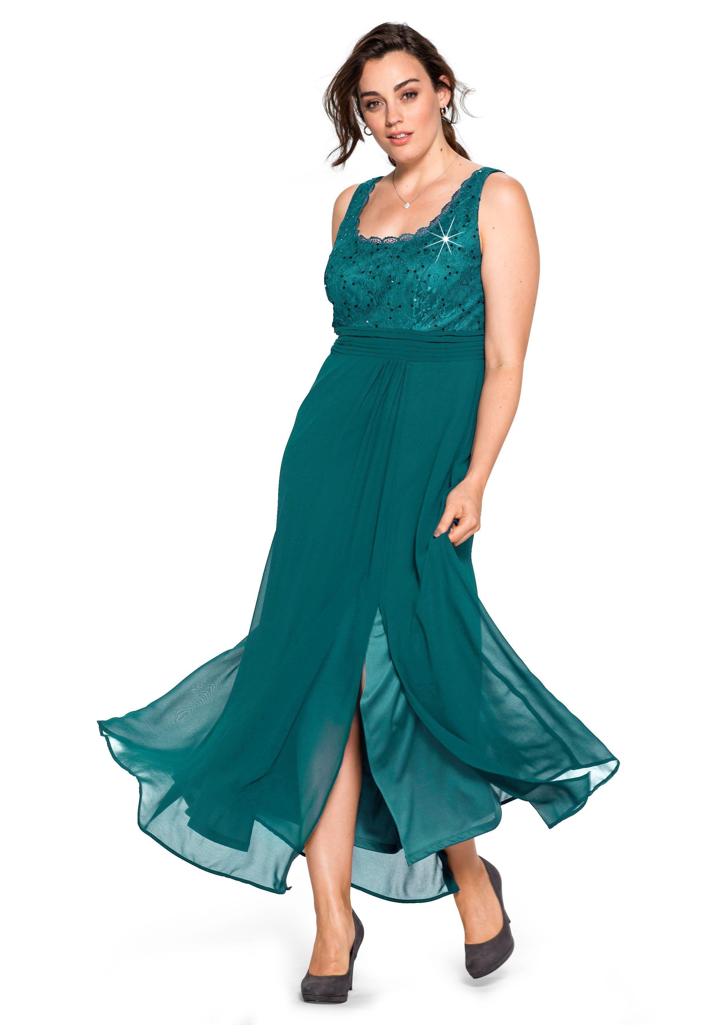 Sheego Abendkleid mit farbig passenden Pailletten online ...