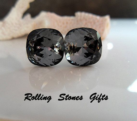 10mm Silver Night Swarovski Rounded Corner Square by rostone, $11.95