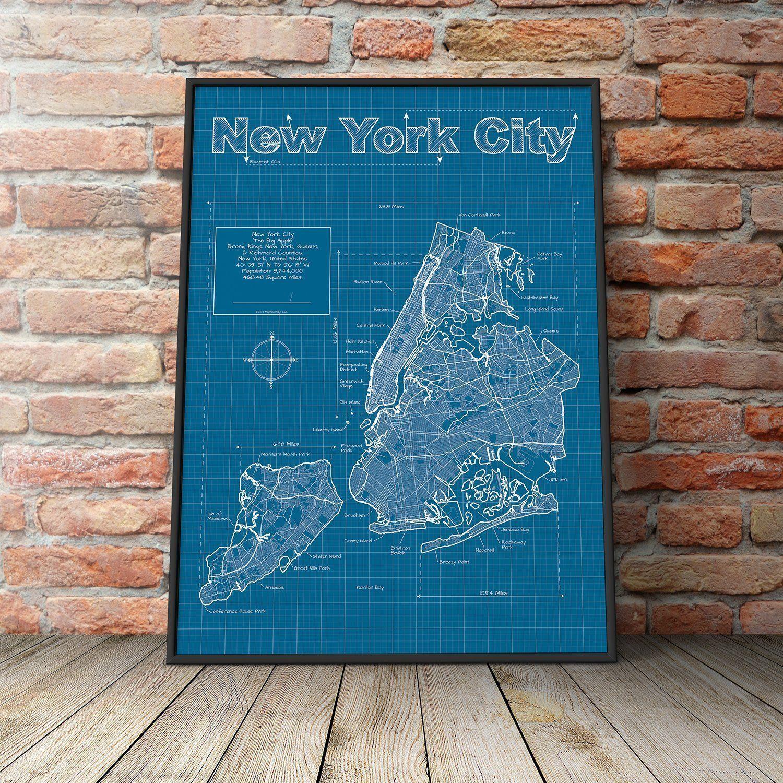 New York City New York Map Blueprint Style Modern Graphic - New york map highways